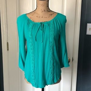 Alyx   knit blouse with crochet trim